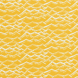 Waves pattern home decor interiors fabric for curtains, blinds and upholstery in maize yellow  available by the meter or yard ships from Canada worldwide including the USA