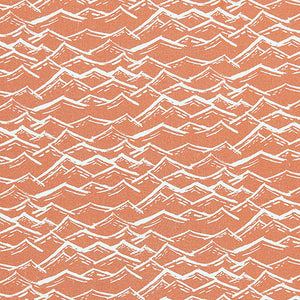 Waves pattern home decor interiors fabric for curtains, blinds and upholstery in terracotta orange  available by the meter or yard ships from Canada worldwide including the USA