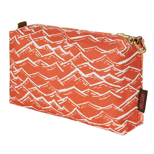 Waves blockprint cotton canvas toiletry travel bag in warm terracotta orange ships from canada worldwide including the USA