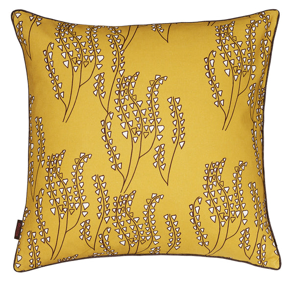 Yuma Graphic Grass Pattern Linen Cotton Cushion in Mustard Gold