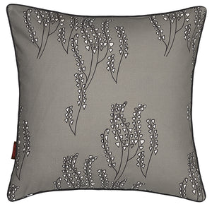Yuma Grass Pattern Linen Cotton Cushion in Light Dove Grey