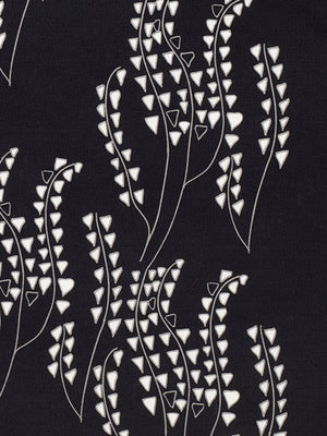 Yuma graphic grass pattern floral cotton linen home decor interiors fabric by the yard or meter for curtains, blinds, upholstery in black and grey ships from Canada (USA)