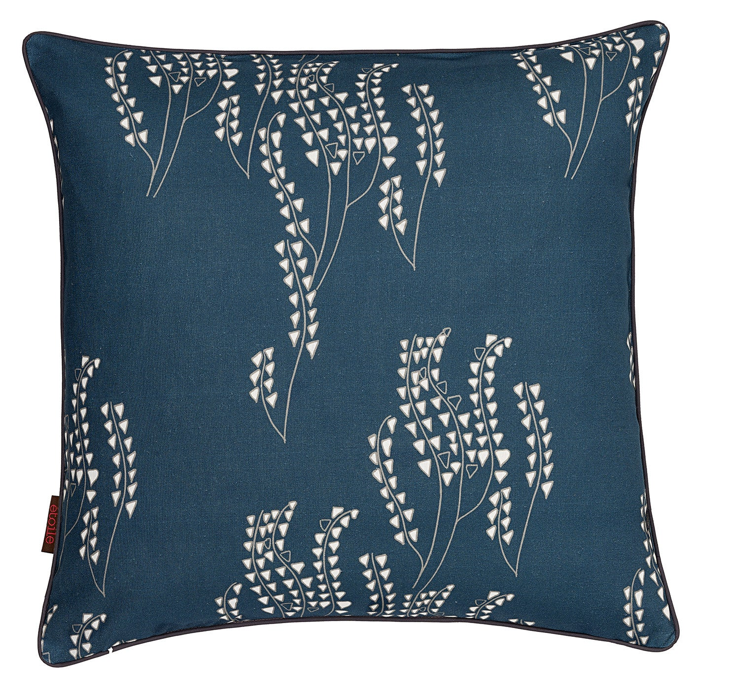 Yuma Graphic Grass Pattern Linen Cushion in Dark Petrol Blue and Grey
