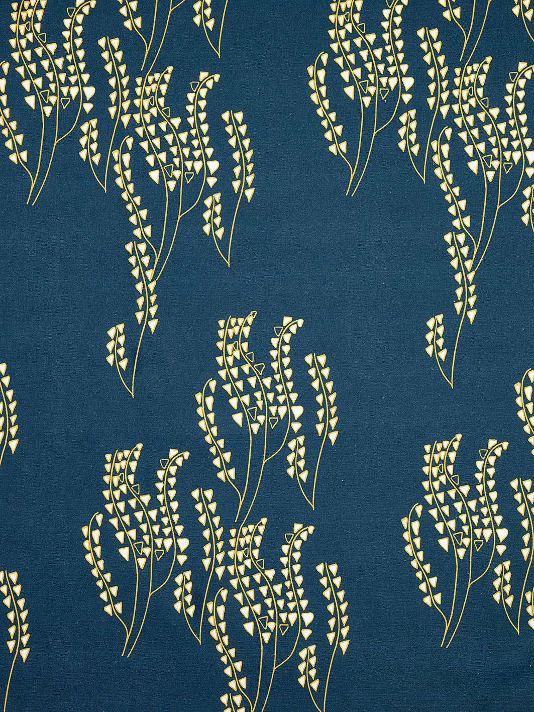 Yuma graphic Wild grass pattern cotton linen Home decor interior Fabric by the yard or meter for curtains, blinds or upholstery - Petrol navy dark blue - maize yellow ships from Canada (USA)