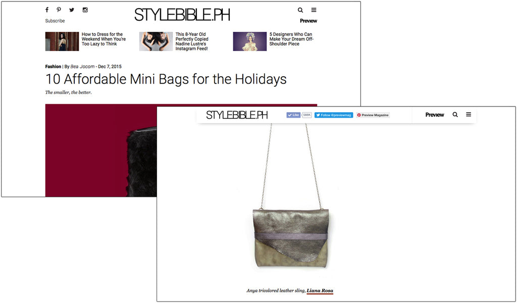 LIANA ROSA featured in StyleBible.ph - 10 Affordable Mini Bags for the Holidays