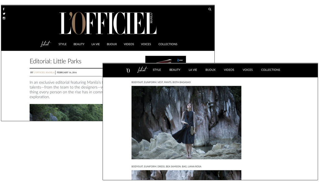 "LIANA ROSA featured in L'Officiel Manila: February 2016 - ""Little Parks"""