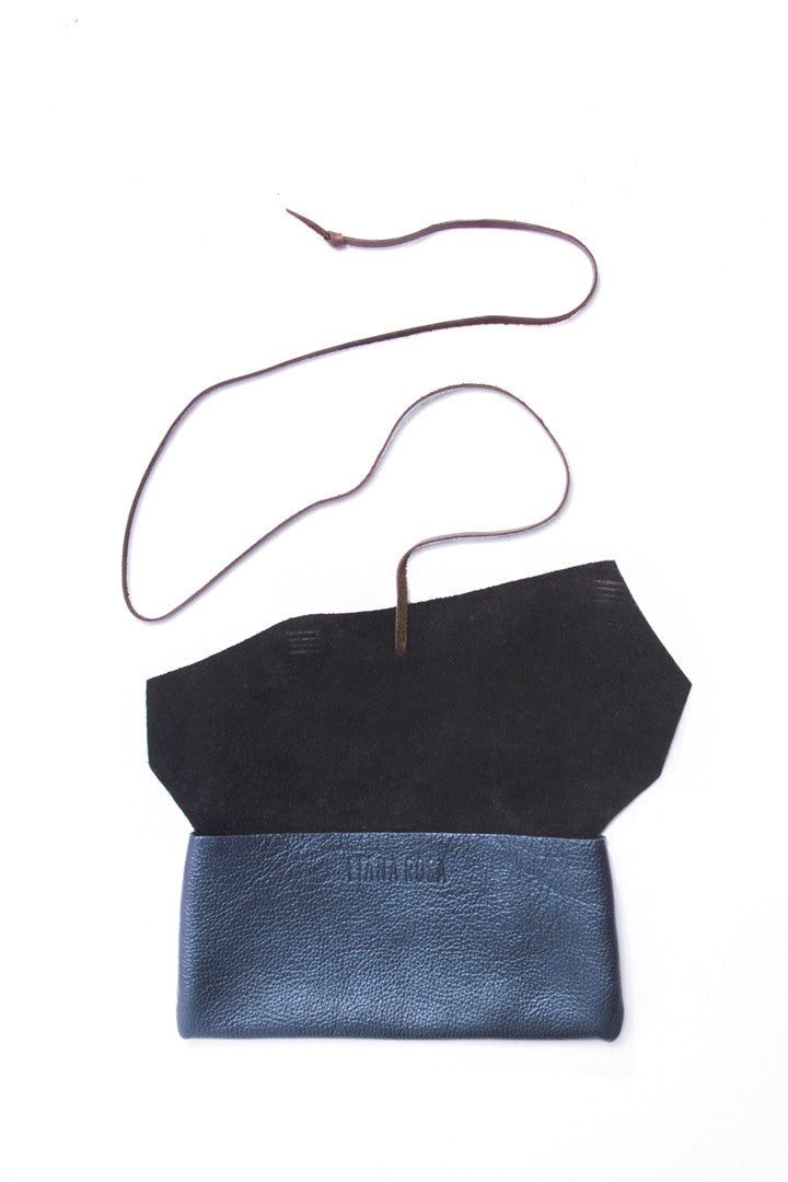 Antonio Blue Leather Raw Pouch Open View by Liana Rosa