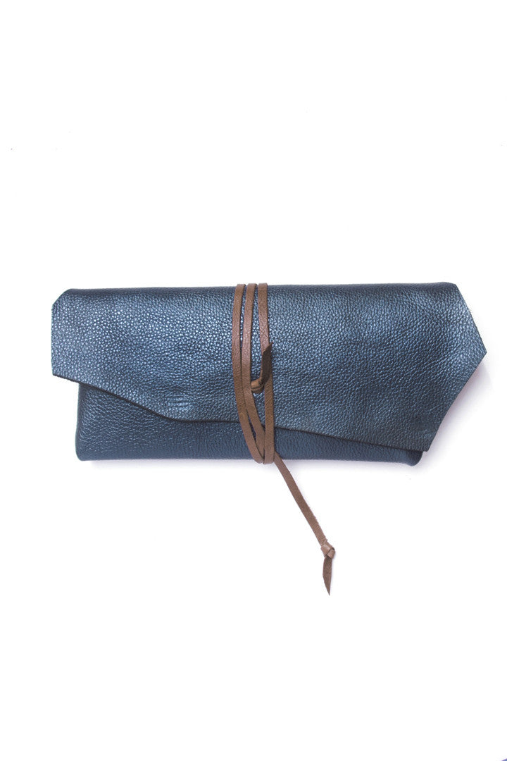 Antonio Blue Leather Raw Pouch by Liana Rosa