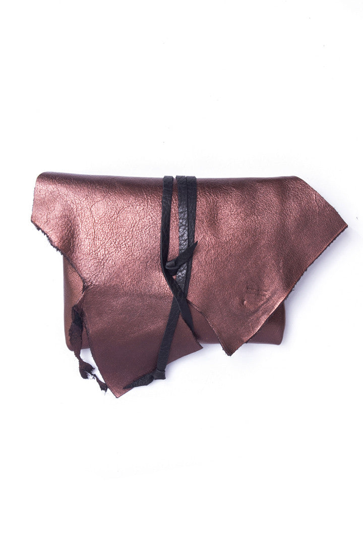 Antonio Rust Leather Raw Pouch by Liana Rosa