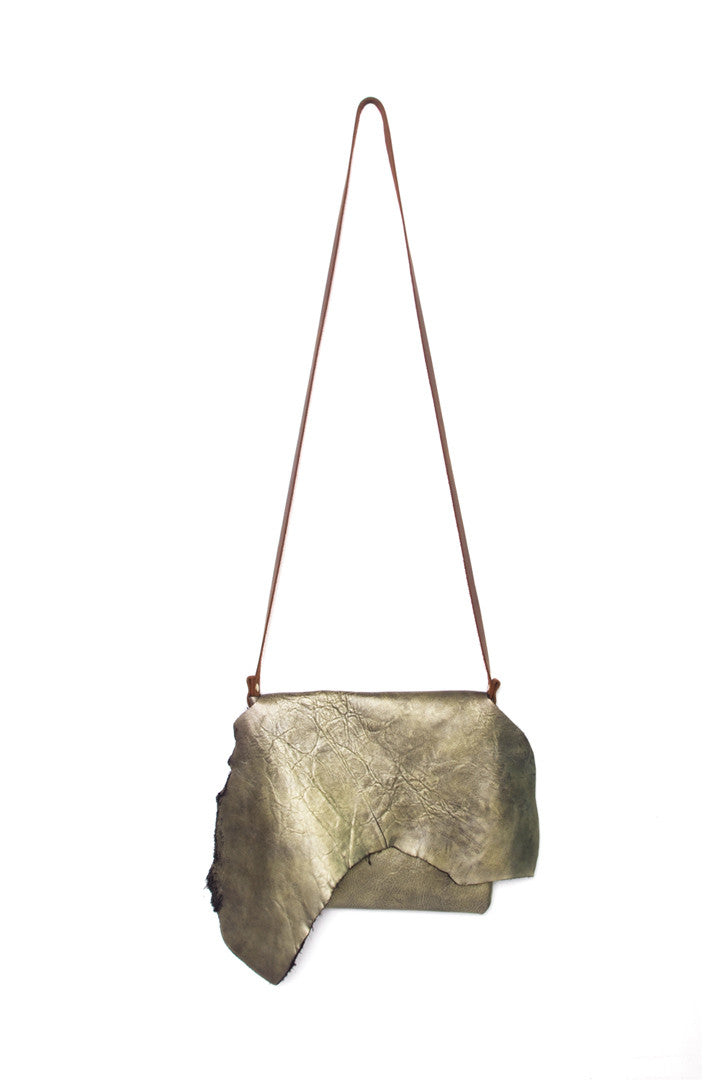 Clarita Antique Gold Leather Raw Sling Bag by Liana Rosa