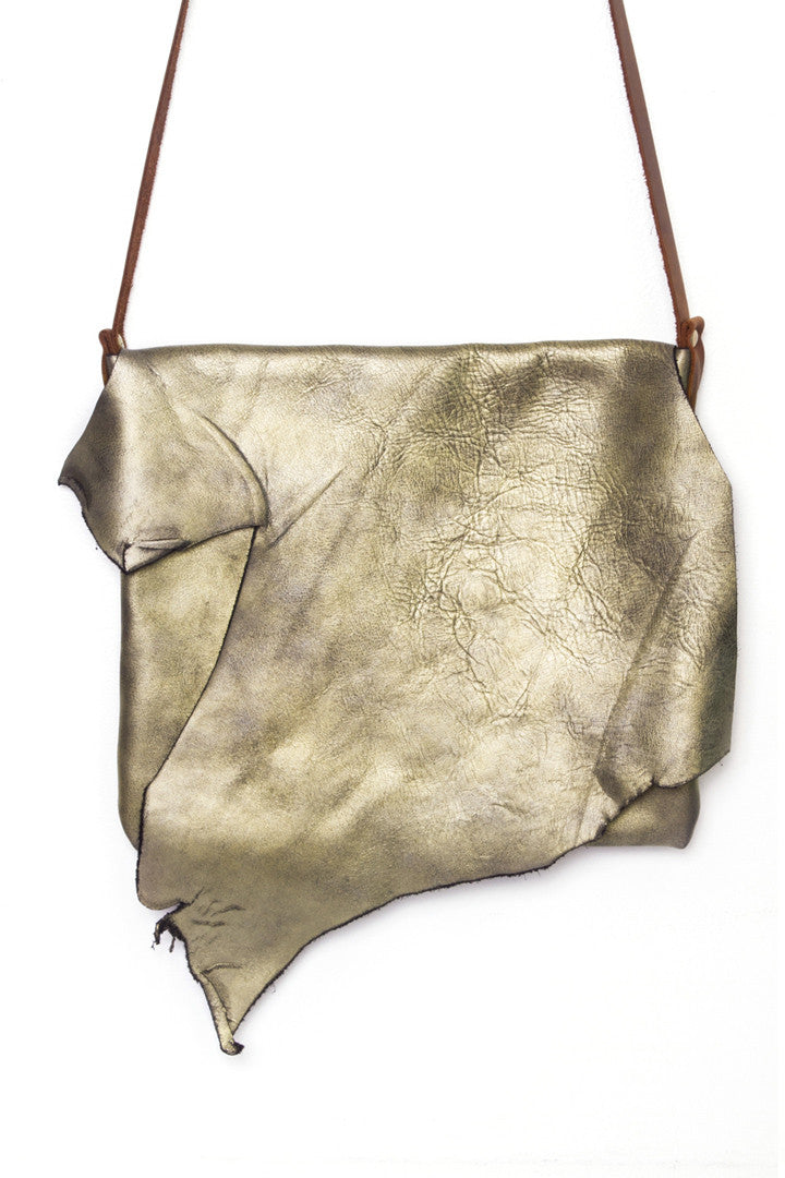 Clarita Antique Gold Leather Raw Sling Bag Close Up View by Liana Rosa