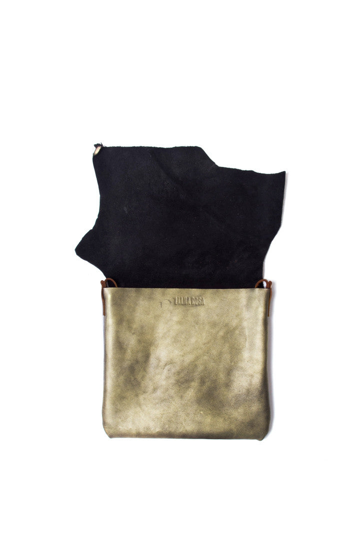 Clarita Antique Gold Leather Raw Sling Bag Open View by Liana Rosa