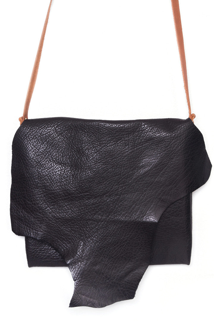 Clarita BlackLeather Raw Sling Bag Close Up View by Liana Rosa