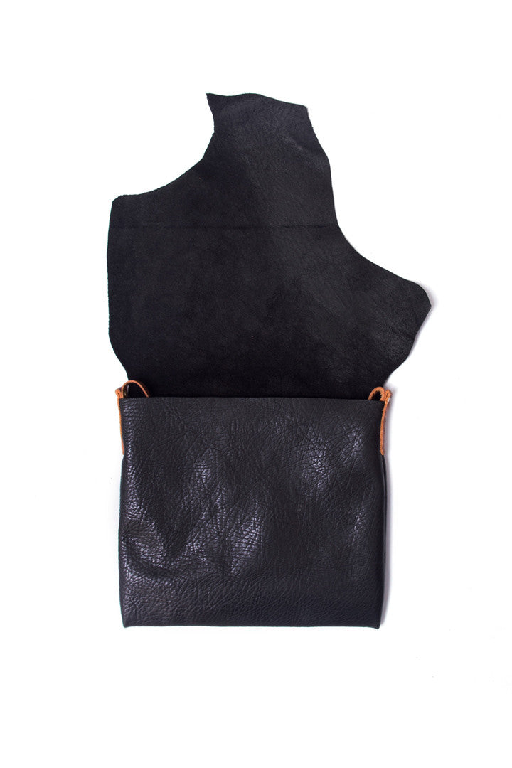 Clarita Black Leather Raw Sling Bag Open View by Liana Rosa