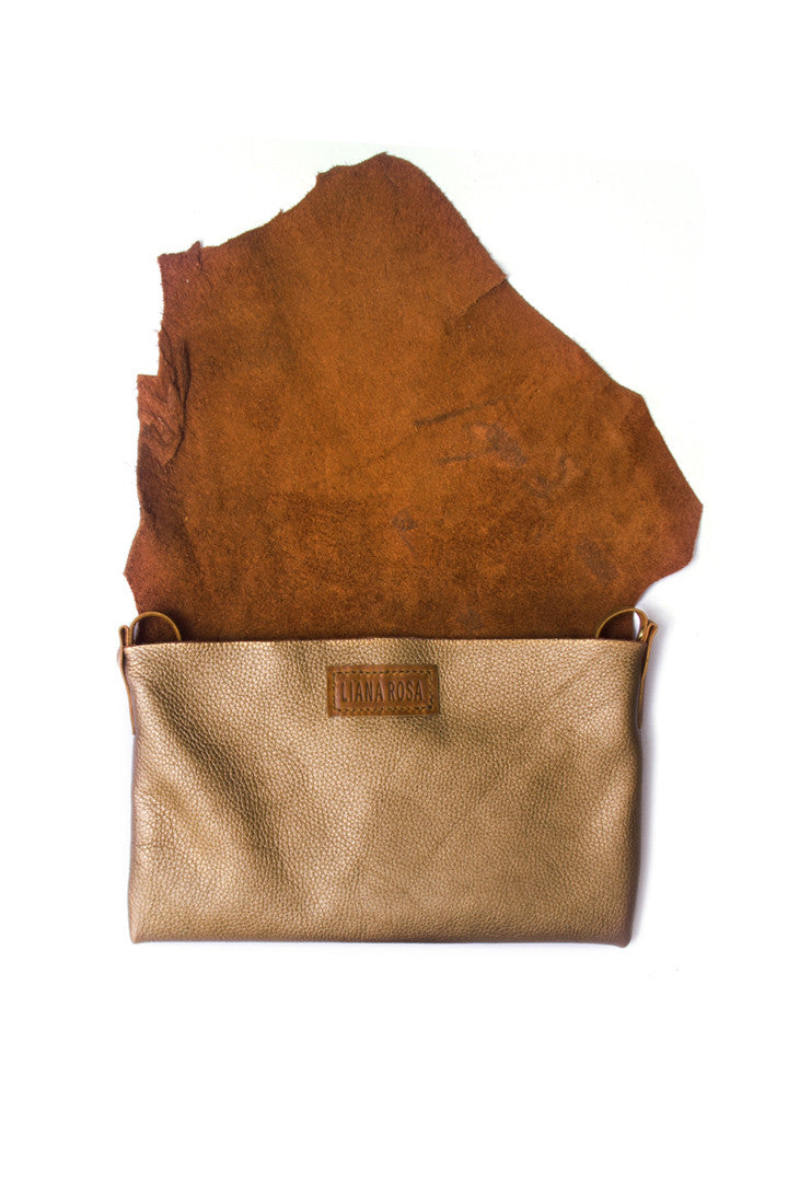 Clarita Bronze Leather Raw Sling Bag Open View by Liana Rosa