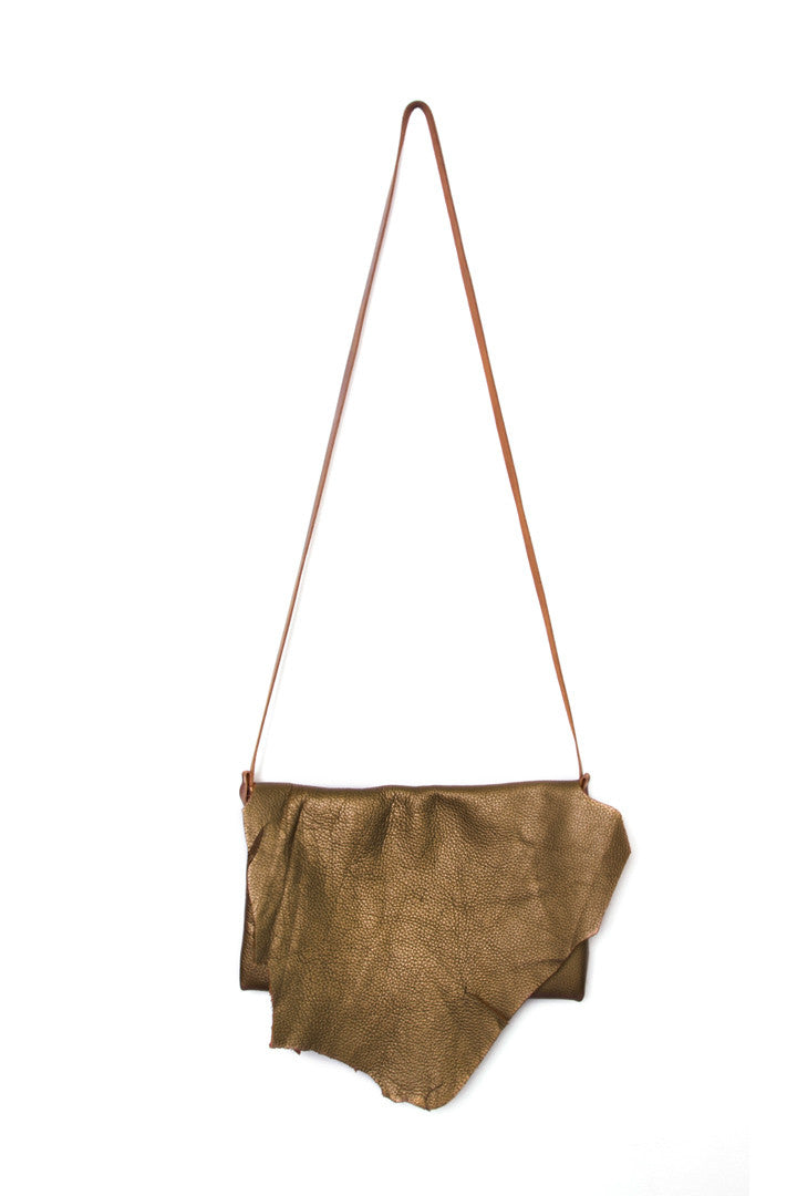 Clarita Bronze Leather Raw Sling Bag by Liana Rosa