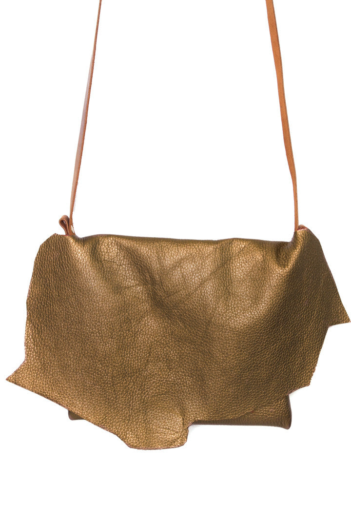 Clarita Bronze Leather Raw Sling Bag Close Up View by Liana Rosa