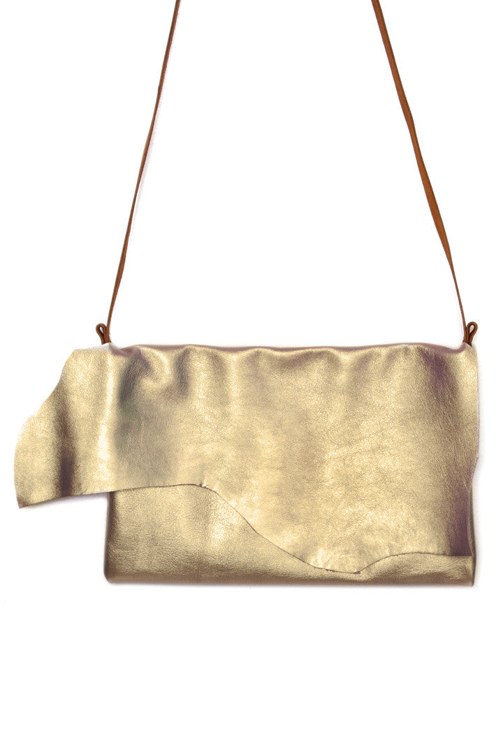 Clarita Gold Leather Raw Sling Bag Close Up View by Liana Rosa