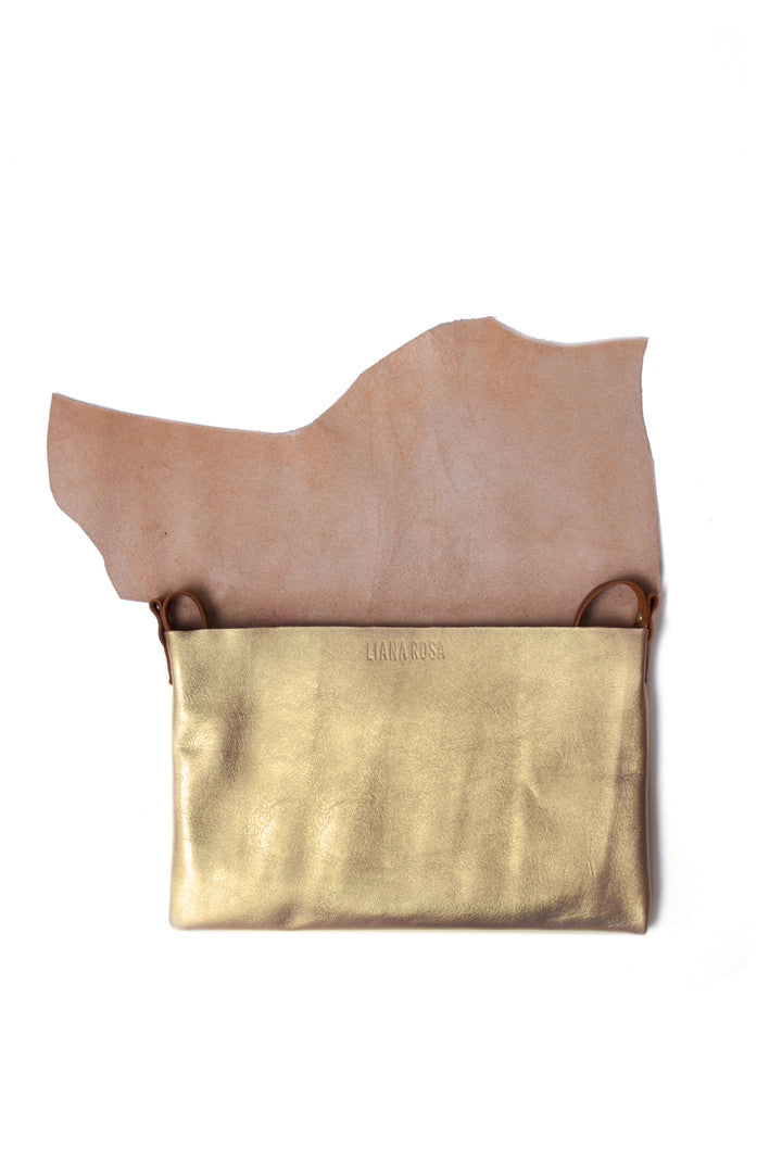 Clarita Gold Leather Raw Sling Bag Open View by Liana Rosa