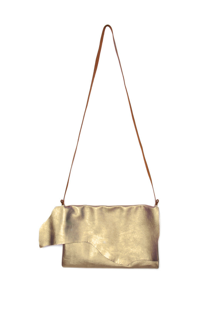 Clarita Gold Leather Raw Sling Bag by Liana Rosa