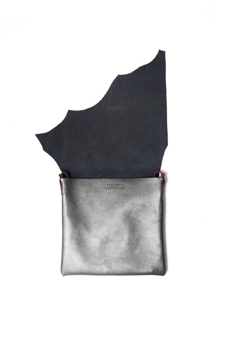 Clarita Metallic Grey Leather Raw Sling Bag Open View by Liana Rosa