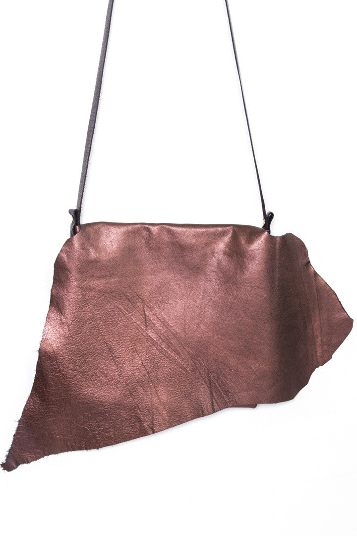 Clarita Rust Leather Raw Sling Bag Close Up View by Liana Rosa