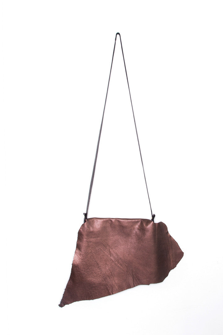 Clarita Rust Leather Raw Sling Bag by Liana Rosa