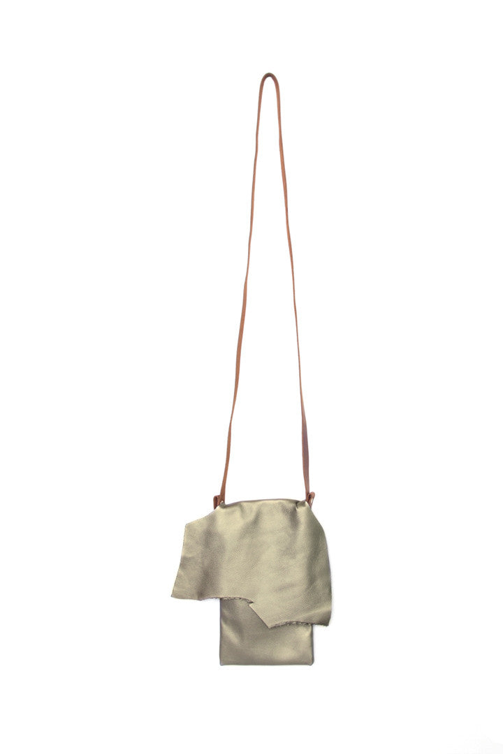 Clarita Silver Leather Raw Sling Bag by Liana Rosa
