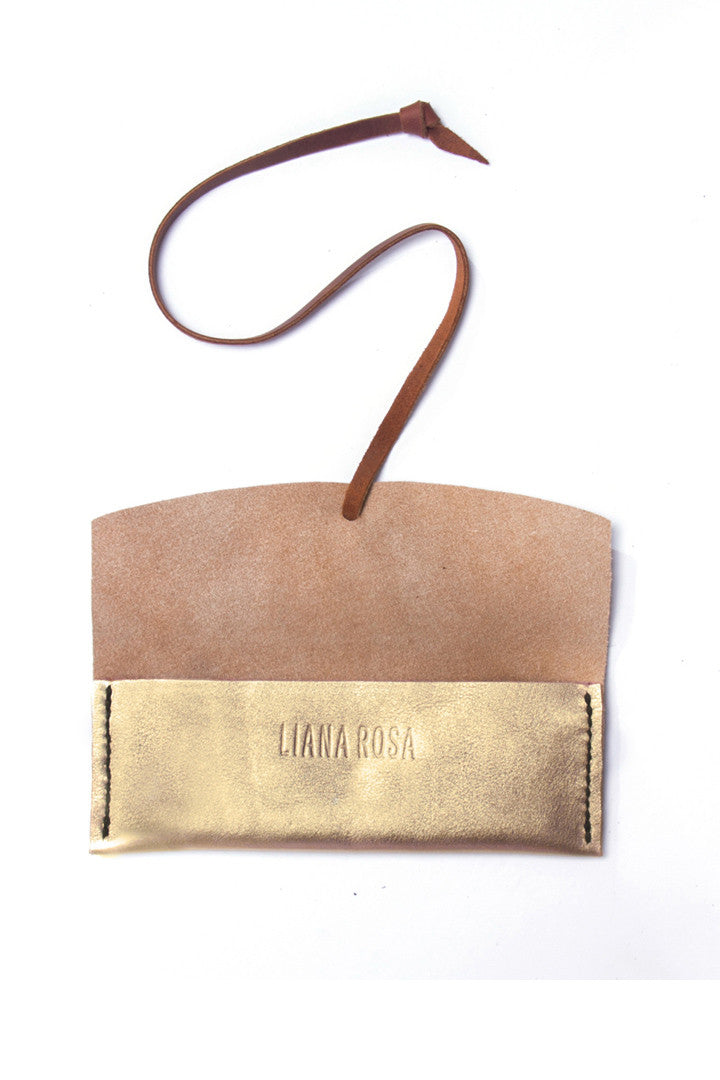 Delia Gold Leather Eyewear Case Open View by Liana Rosa