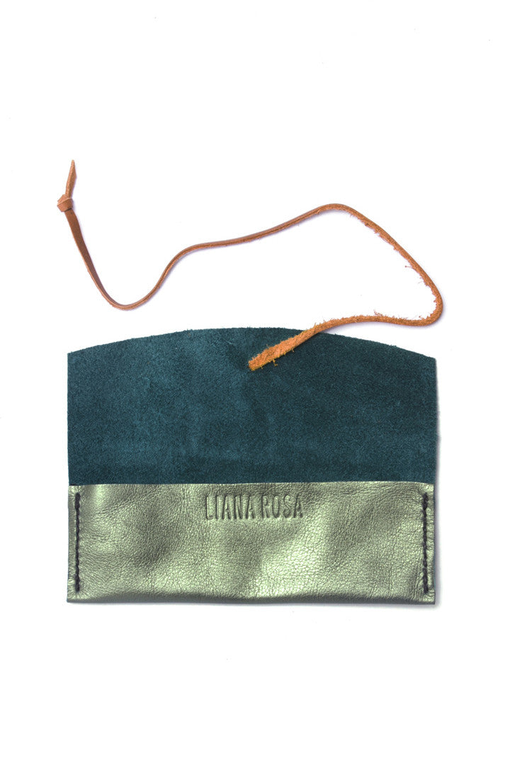 Delia Seafood Green Leather Eyewear Case Open View by Liana Rosa