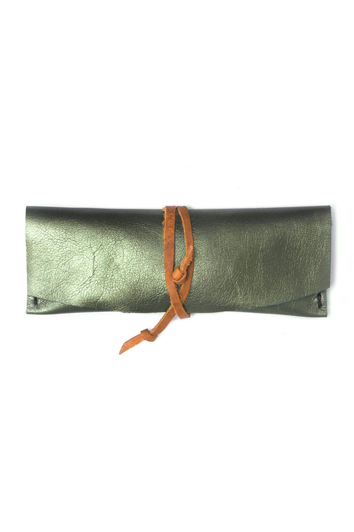 Delia Seafood Green Leather Eyewear Case by Liana Rosa