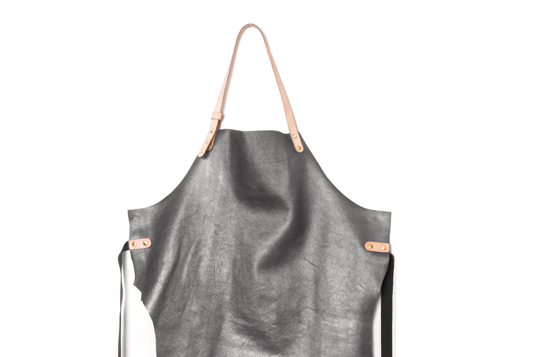 Fidel Metallic Grey Leather Maker Apron Close Up View by Liana Rosa