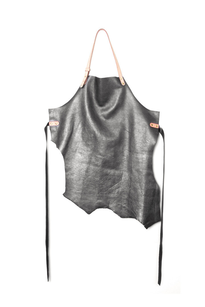 Fidel Metallic Grey Leather Maker Apron Open View by Liana Rosa