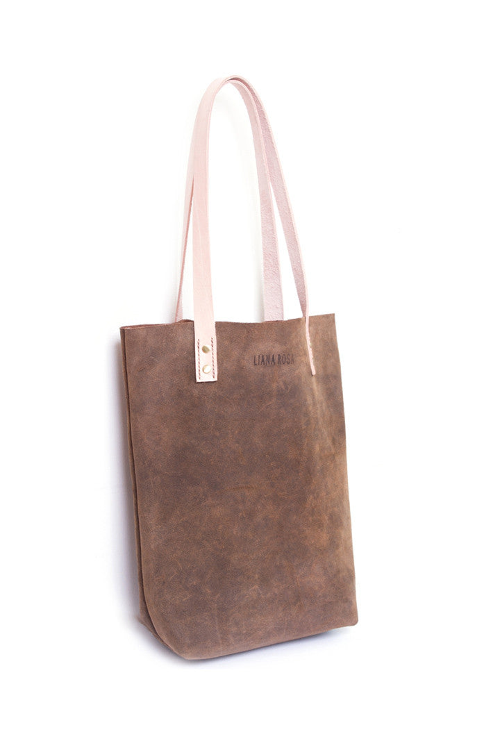 Gene Olive Suede Tote Bag Side View by Liana Rosa