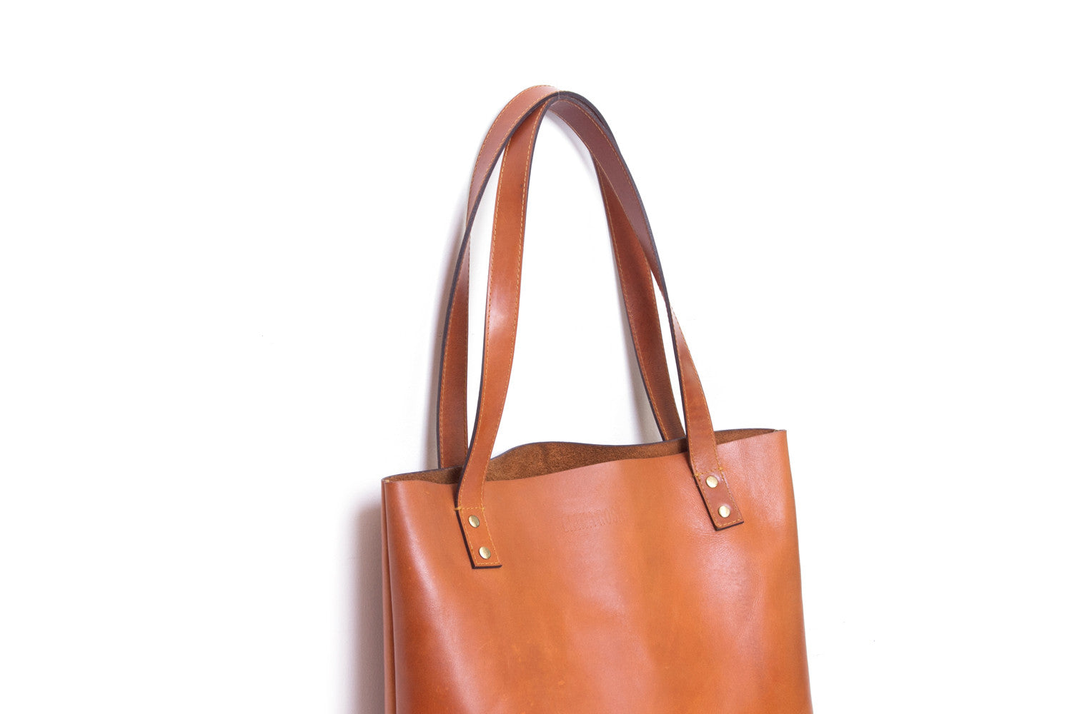 Henry Cognac Brown Leather Tote Bag Close Up View by Liana Rosa