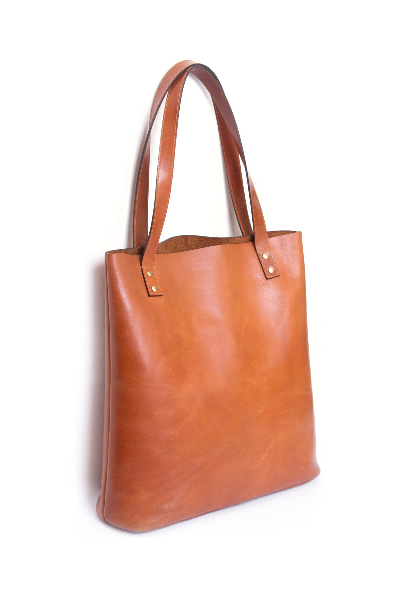 Henry Cognac Brown Leather Tote Bag Side View by Liana Rosa