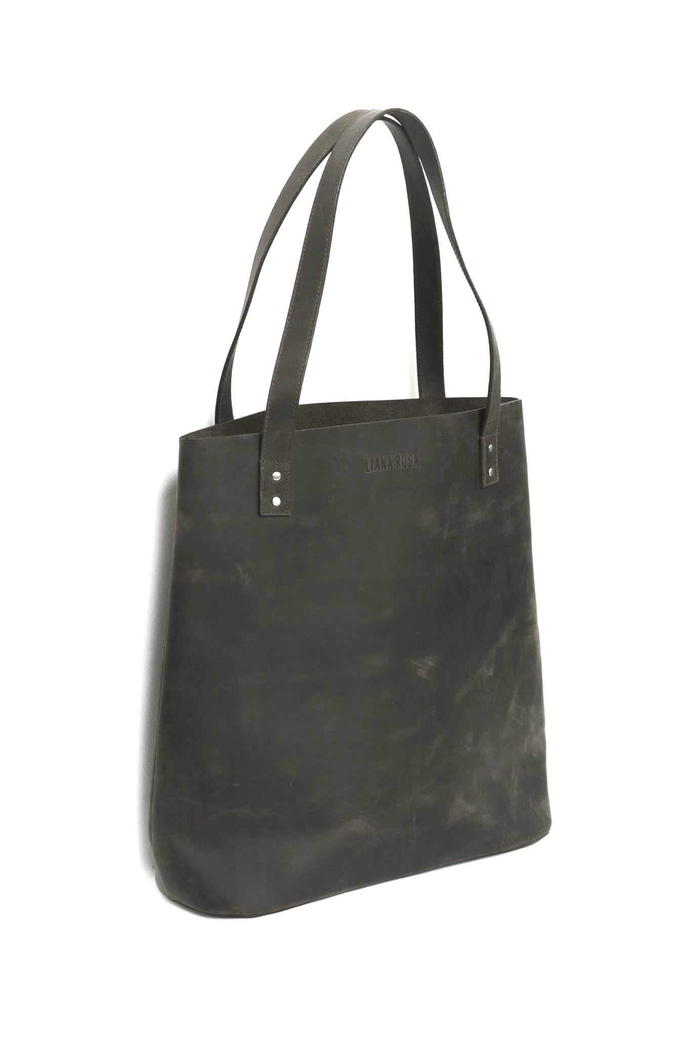 Henry Dusty Grey Leather Tote Bag Side View by Liana Rosa
