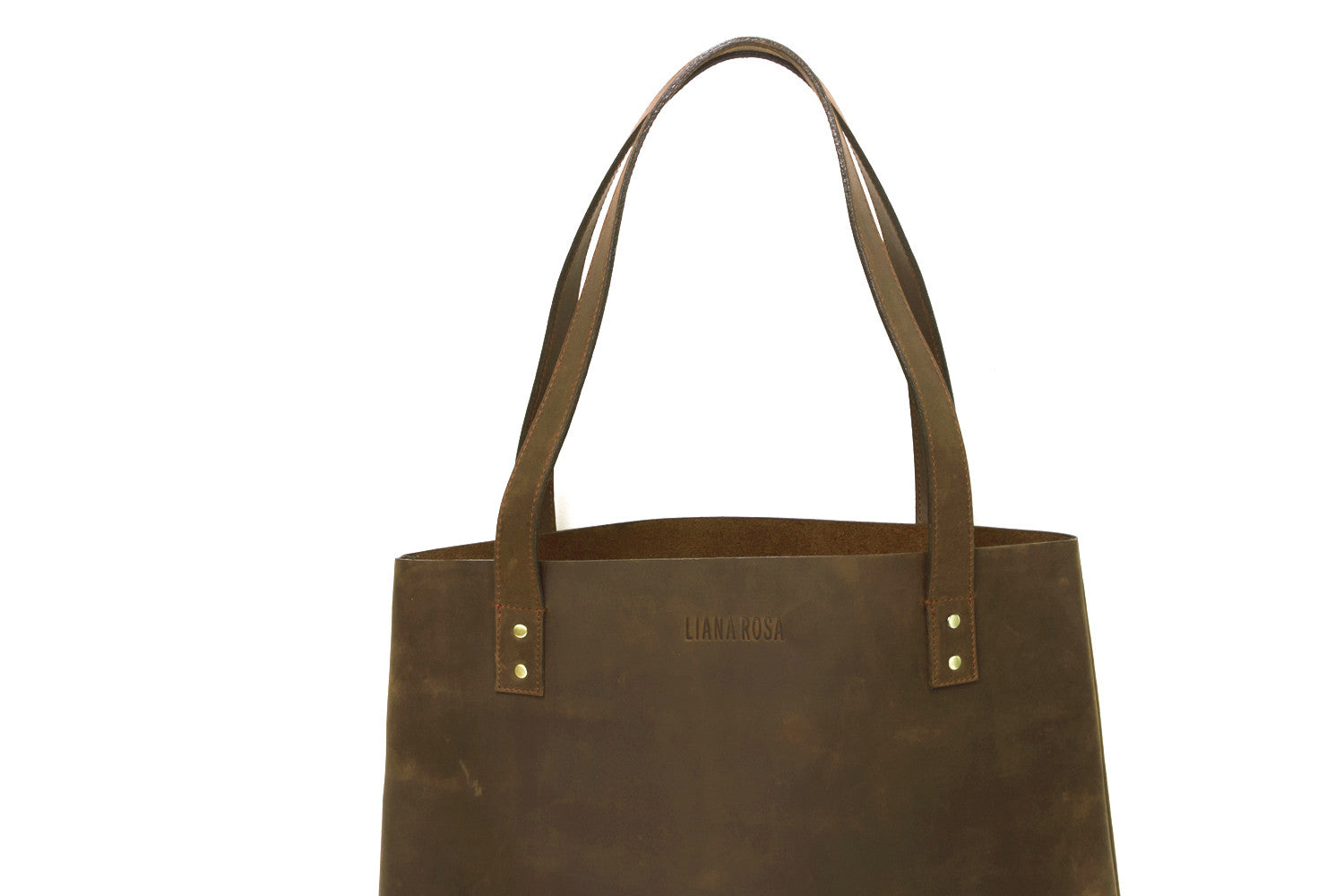 Henry Hunter Brown Leather Tote Bag Close Up View by Liana Rosa
