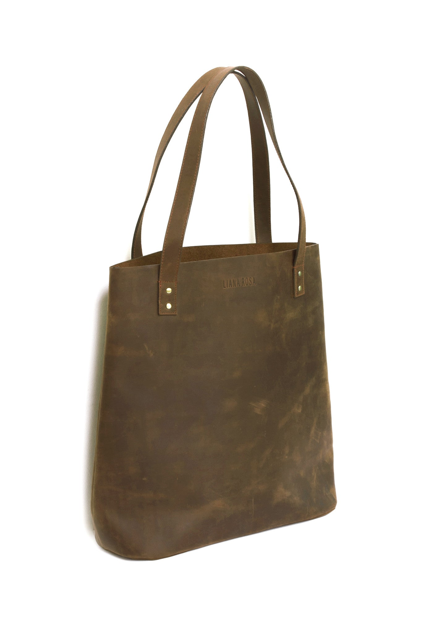 Henry Hunter Brown Leather Tote Bag Side View by Liana Rosa