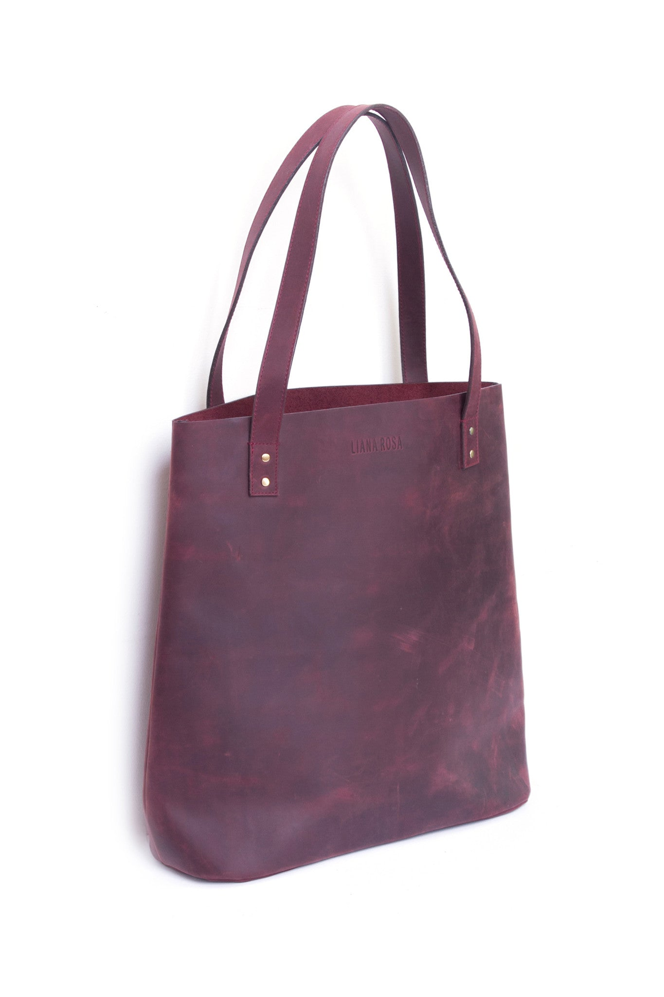 Henry Sangria Burgundy Leather Tote Bag Side View by Liana Rosa