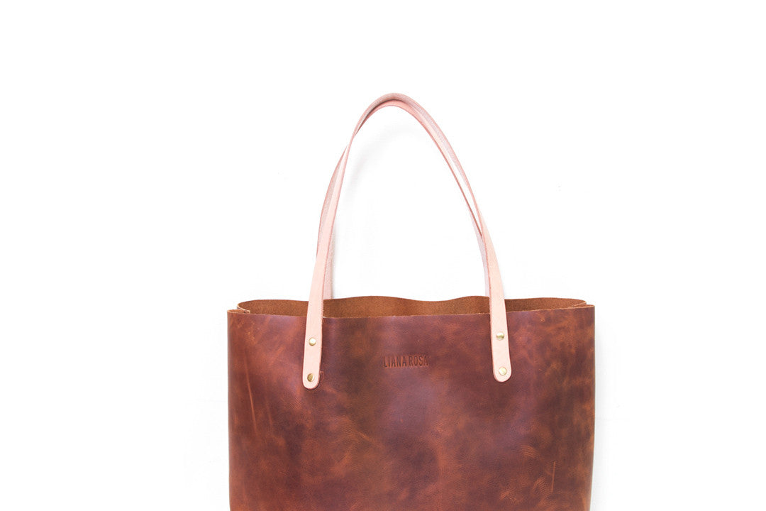 Precilla Brown Distressed Leather Tote Bag Close Up View by Liana Rosa