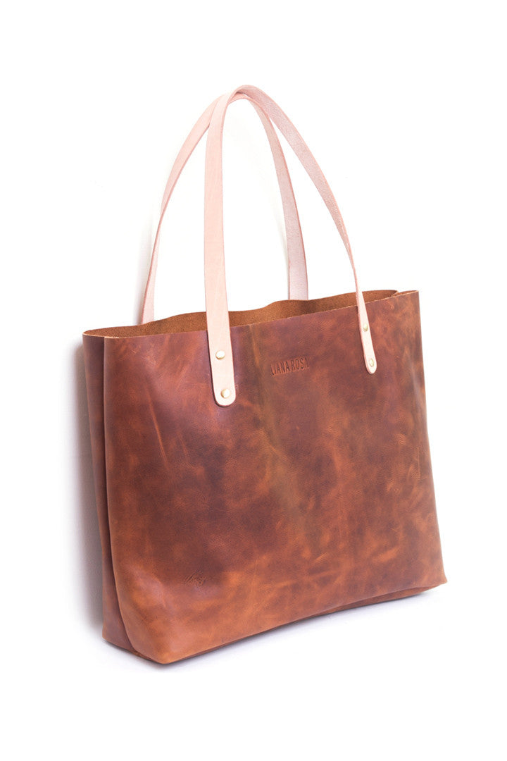 Precilla Brown Distressed Leather Tote Bag Side View by Liana Rosa