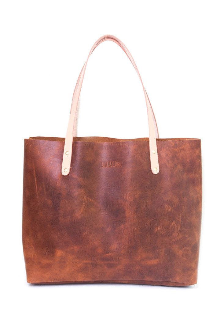 Precilla Brown Distressed Leather Tote Bag by Liana Rosa