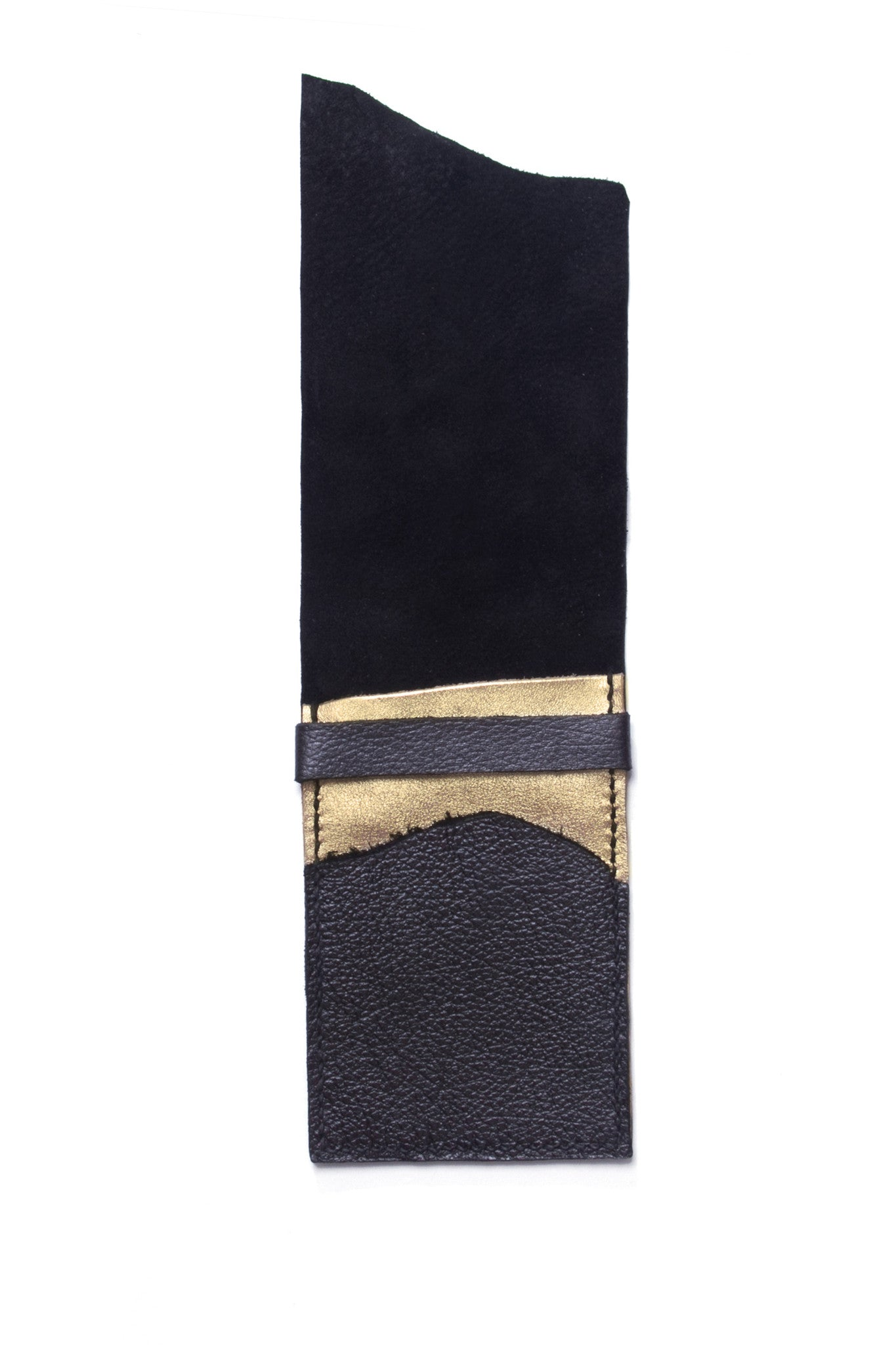 Stella Black & Gold Leather Raw iPhone Sleeve Open View by Liana Rosa