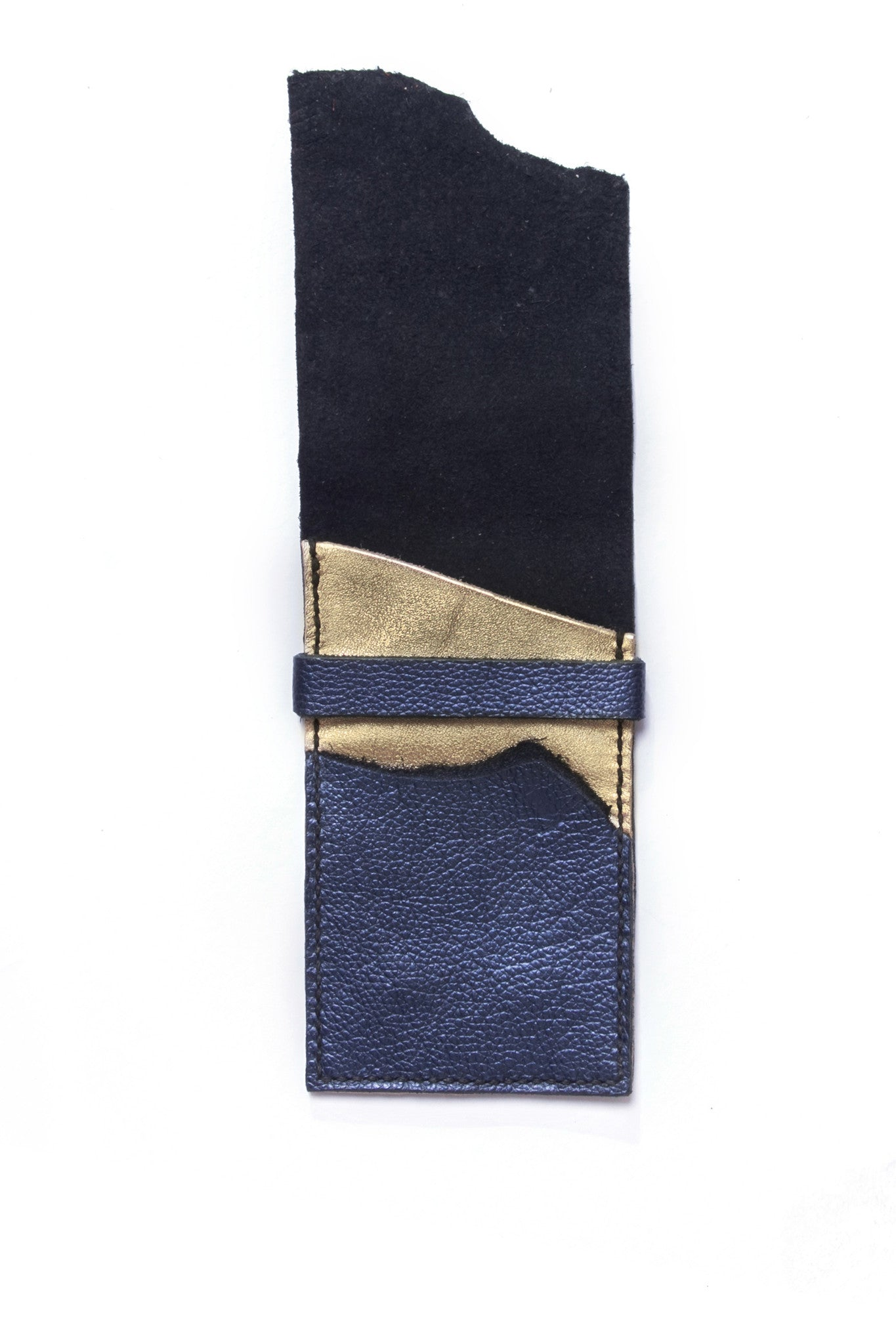 Stella Blue & Gold Leather Raw iPhone Sleeve Open View by Liana Rosa
