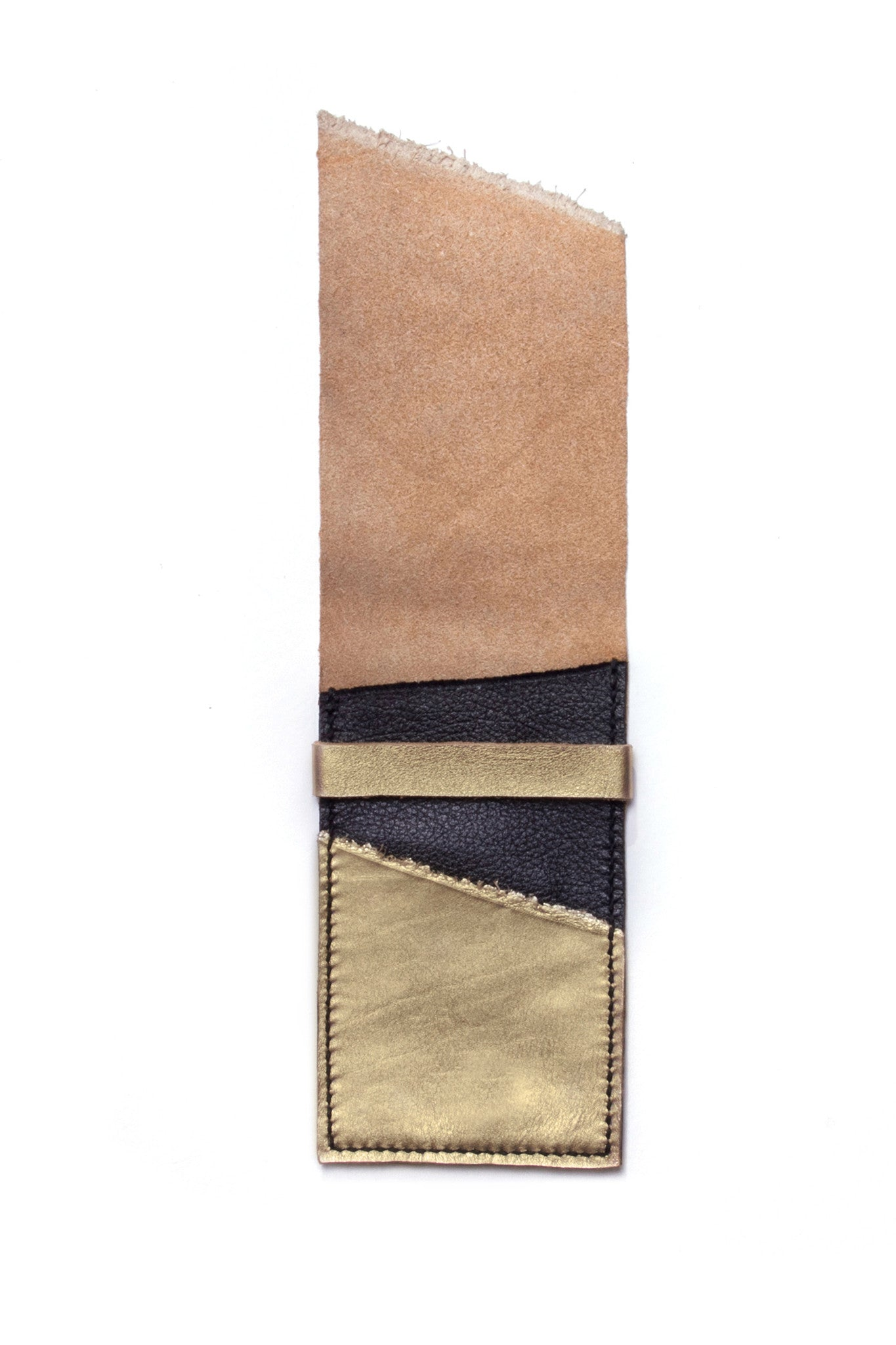 Stella Gold & Black Leather Raw iPhone Sleeve Open View by Liana Rosa