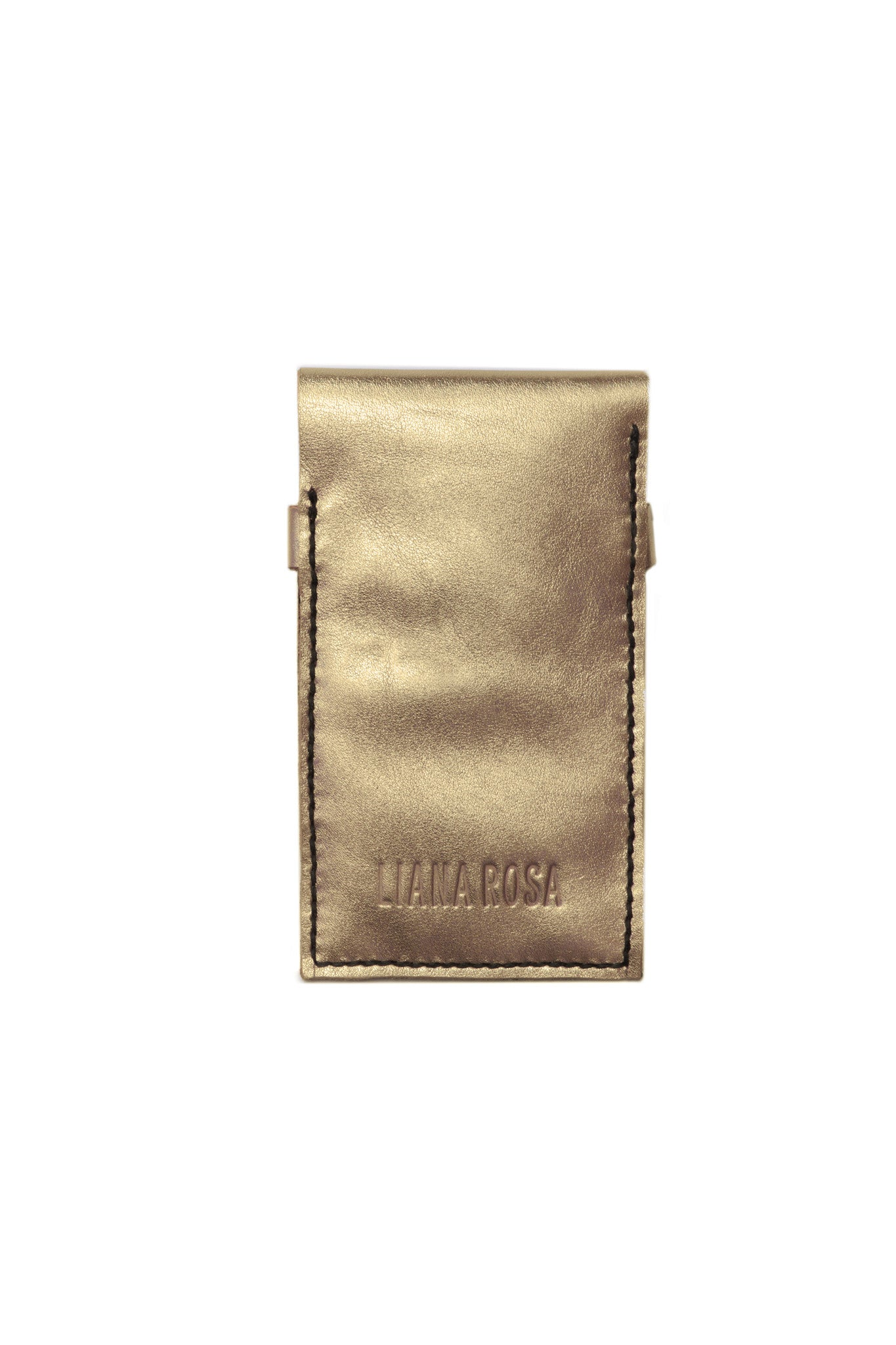 Stella Gold & Black Leather Raw iPhone Sleeve Back View by Liana Rosa