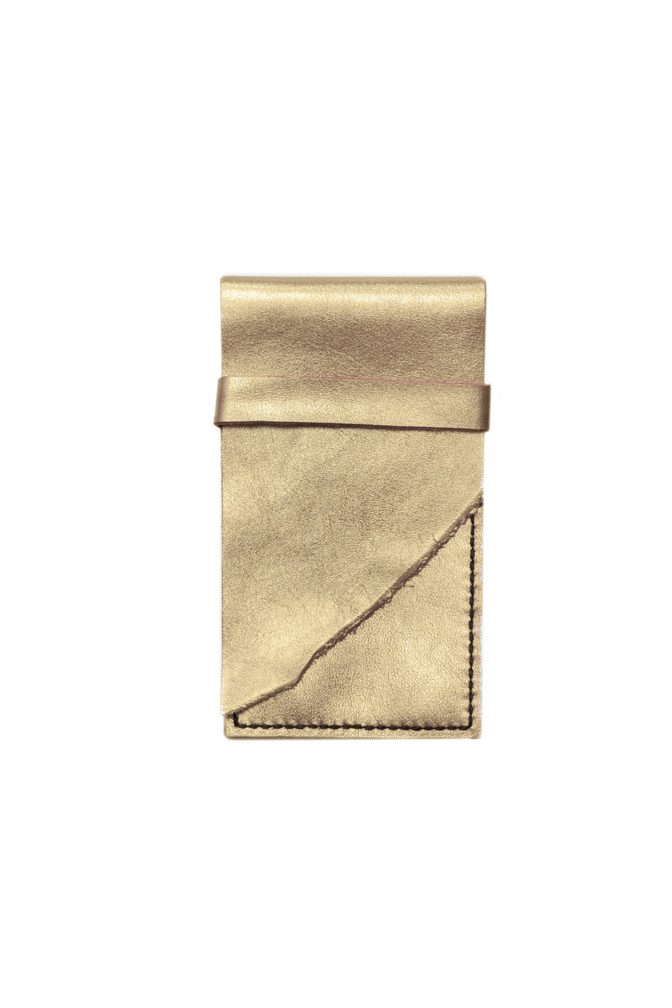 Stella Gold & Black Leather Raw iPhone Sleeve by Liana Rosa