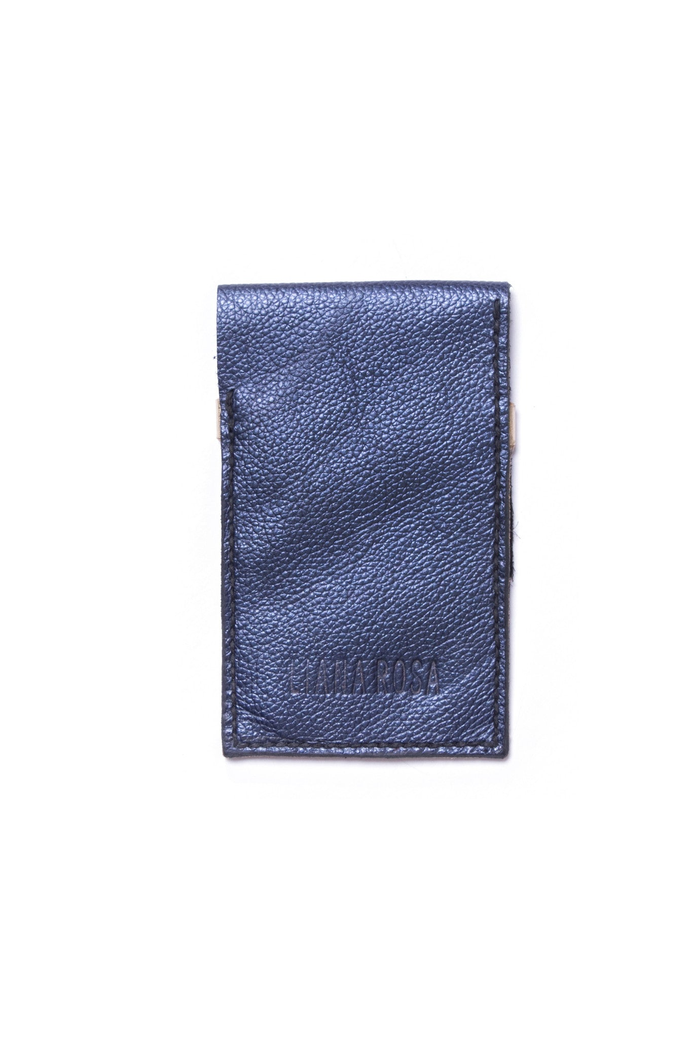 Stella Tricolored Black Metallic Blue Gold Leather Raw iPhone Sleeve Back View by Liana Rosa