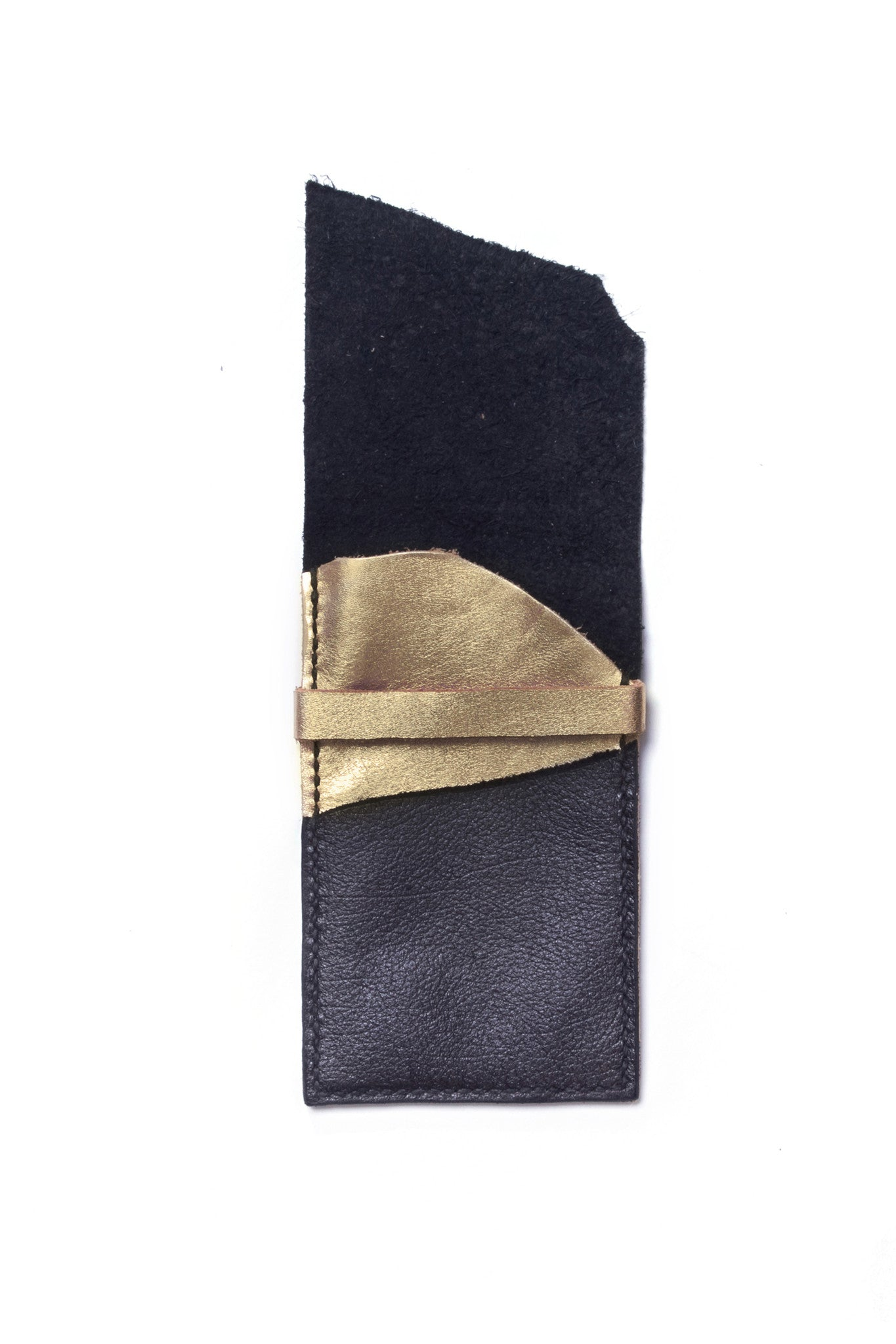 Stella Tricolored Black Metallic Blue Gold Leather Raw iPhone Sleeve Open View by Liana Rosa